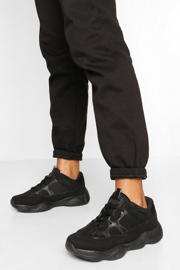 Black Chunky Sole Multi Panel Trainers