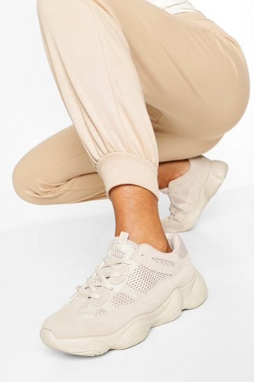 Stone Chunky Sole Multi Panel Trainers