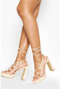 Nude Knot Detail Strappy Platform Heels