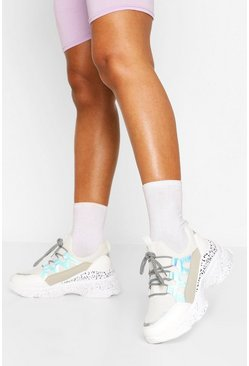 White Leopard Panel Chunky Sneakers