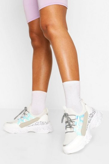 White Leopard Panel Chunky Trainers