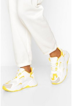 White Multi Panel Chunky Sneakers