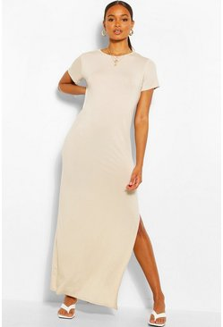 Stone Split Short Sleeve Maxi Dress