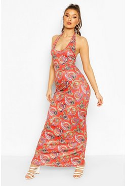 Red Paisley Halterneck Maxi Dress