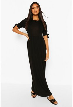 Black Tie Sleeve Maxi Dress