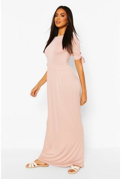 Blush Tie Sleeve Maxi Dress