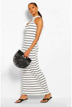 White Stripe High Neck Cut Out Maxi Dress
