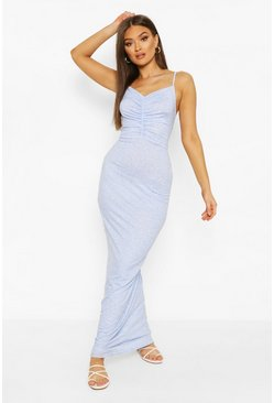 Pastel blue Spot Print Ruched Cami Maxi Dress