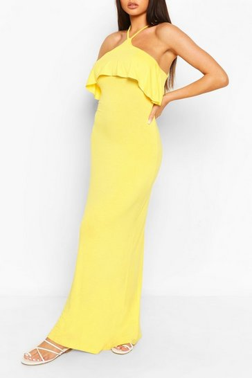 Yellow Ruffle Detail Cross Back Maxi Dress