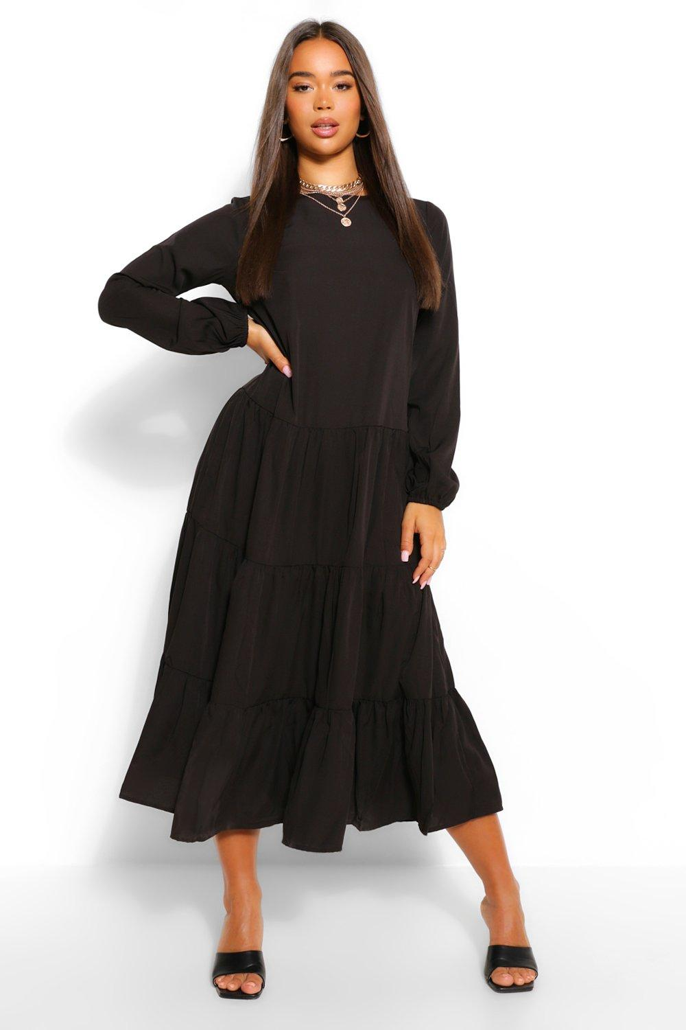 Cottagecore Dresses Aesthetic, Granny, Vintage Womens Woven Extreme Tiered Smock Dress - Black - 14 $14.00 AT vintagedancer.com