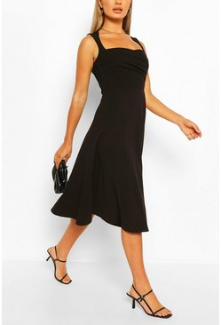 Black Sweetheart Neck Wrap Midi Skater Dress