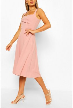 Blush Sweetheart Neck Wrap Midi Skater Dress