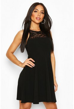 Black Lace Insert Skater Dress