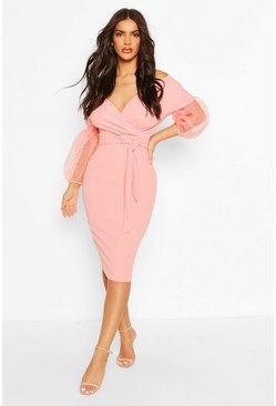 Coral Off The Shoulder Dobby Mesh Midi Dress