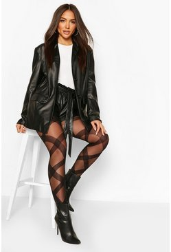 Black Oversized Diamond Check Print Tights