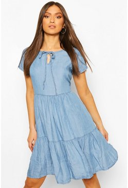 Light blue Chambray Tierred Smock Dress
