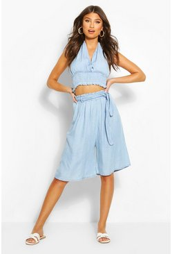Light blue Chambray Tie Waist City Short