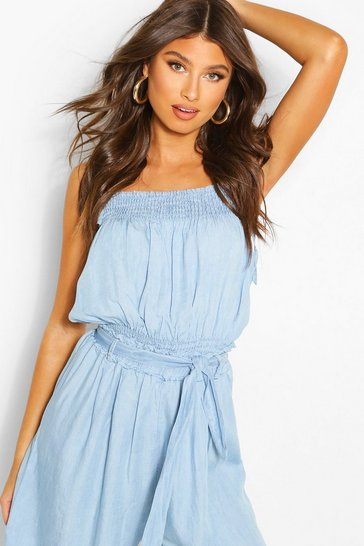 Light blue Chambray Tie Shirred Top