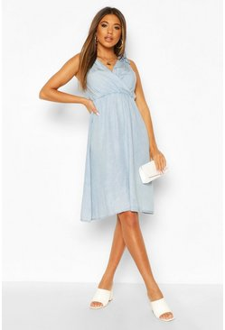 Light blue Chambray Tie Detail Skater Dress
