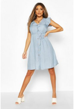 Light blue Chambray Frill Sleeve Button Skater Dress