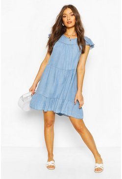 Chambray Tierred Smock Dress, Light blue