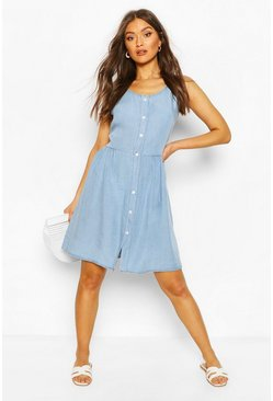 Light blue Chambray Button Front Skater Dress