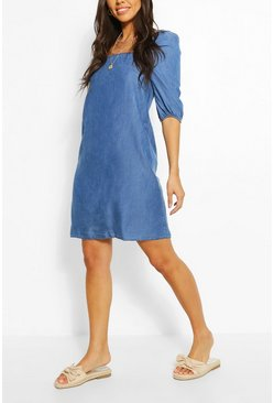 Chambray Shirred Back Shift Dress, Mid blue