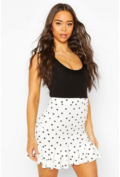 Ivory Double Pep Hem Polka Dot Mini Skirt