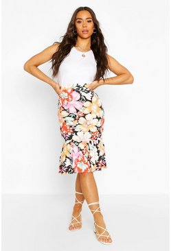 Floral Tiered Mini Skirt, Black