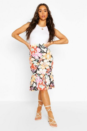 Black Floral Tiered Mini Skirt