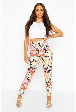 Black Belted Skinny Floral Trousers