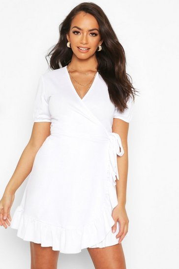White Puff Sleeve Ruffle Wrap Tea Dress
