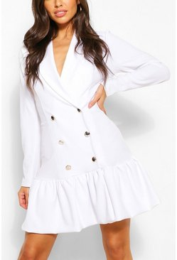 Puff Ball Hem Blazer Dress, White