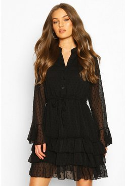 Dobby Tie Waist Flare Sleeve Mini Dress, Black