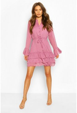 Lilac Dobby Tie Waist Flare Sleeve Mini Dress