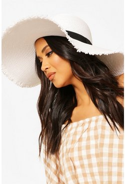 White Frayed Ege Straw Floppy Hat With Band