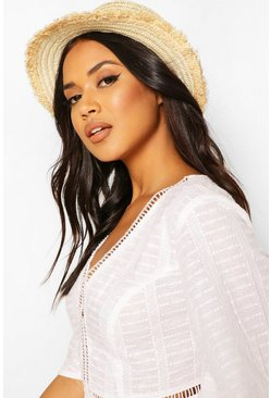 Cream Frayed Edge Straw Boater Hat
