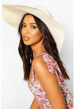 Cream 14cm Brim Floppy Hat
