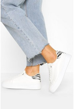 White Zebra Panel Platform Trainers