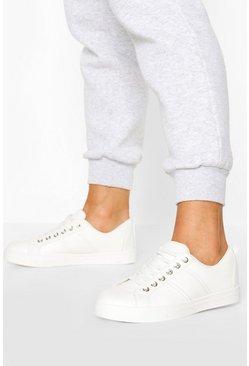 White Loop Back Side Stripe Flat Trainers