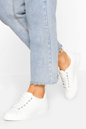 White Loop Back Basic Flat Trainers