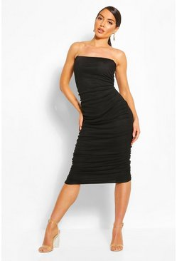 Black Clear Strap Ruched Mesh Midi Dress