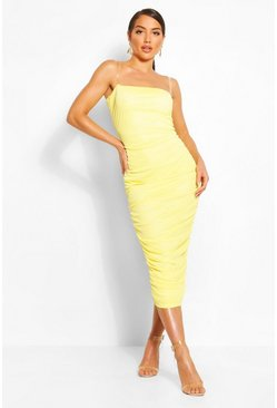 Washed lime Clear Strap Ruched Mesh Midi Dress