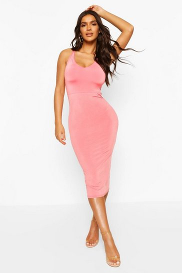 Coral Clear Strap Slinky Midi Dress