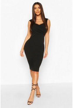 Black Sweetheart Wrap Crepe Bodycon Dress