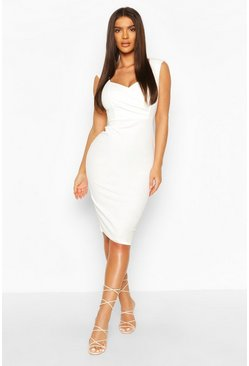 White Sweetheart Wrap Crepe Bodycon Dress