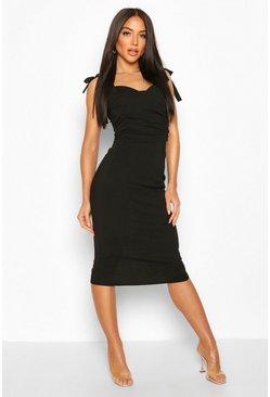 Black Tie Detail Strappy Ruched Front Midi Dress