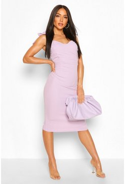 Lilac Tie Detail Strappy Ruched Front Midi Dress