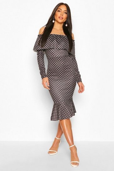 Black Off The Shoulder Polka Dot Frill Hem Midi Dress
