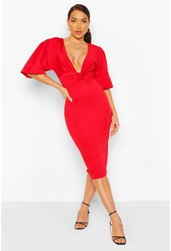Red Balloon Sleeve Twist Detail Midi Dress